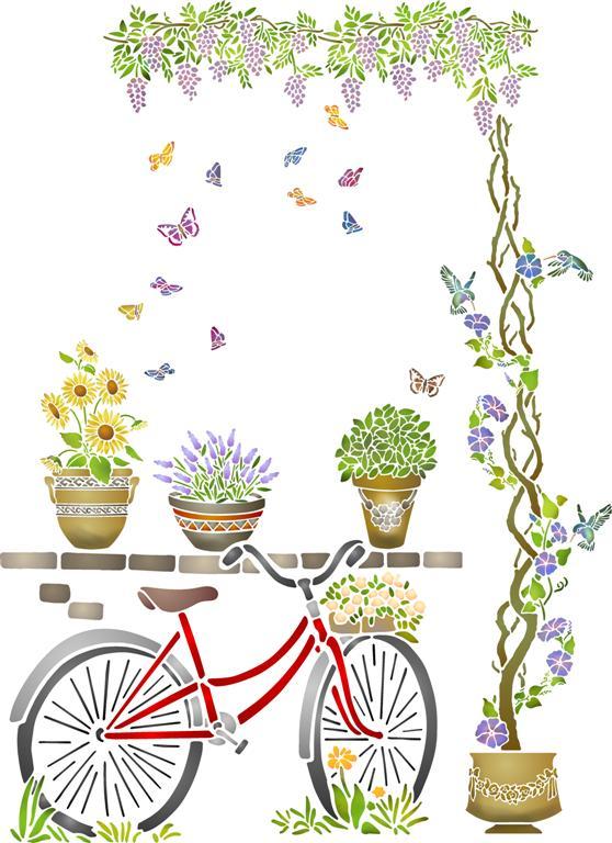 Mur4004 pochoir velo glycine mural plantes style pochoir