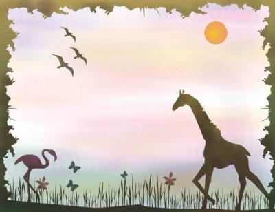 Mur7006 payasge girafe flamand rose savane style pochoir a peindre mon artisane