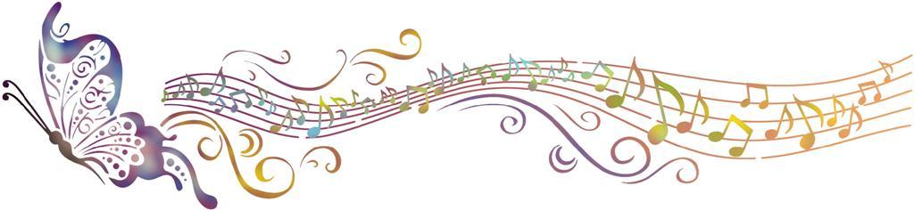 Mus1005 papillon portee de musique en pochoir style pochoir