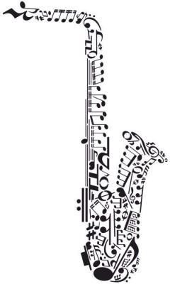 Note de musique en saxophone pochoir mus100954 div800954