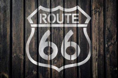 Palette fond bois route 66 pochoir peint style pochoir