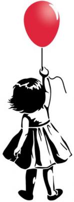 Petite fille au ballon rouge pochoir a peindre mon artisane style pochoir per37795 street art tag