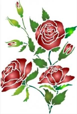 Pochoir fleur 3 roses style pochoir