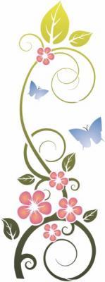 Pochoir fleurs sauvages avec papillons stipo1455