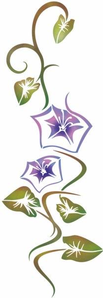 Pochoir fleurs violettes belles de jour stipo306 style pochoir 1