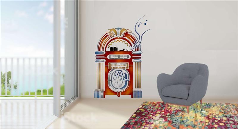 Pochoir mural juke box musique medium