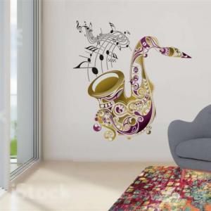 Pochoir mural saxophone notes de musique style pochoir medium
