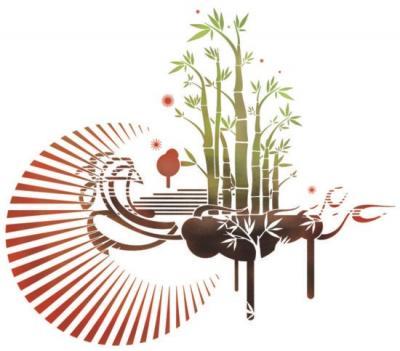 Pochoir paysage bambous design mur3004