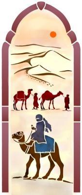 Pochoir porte orientale arabe dromadaires style pochoir