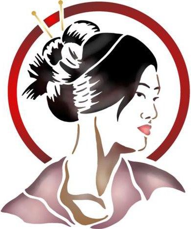 Pochoir visage femme asiatique style pochoir