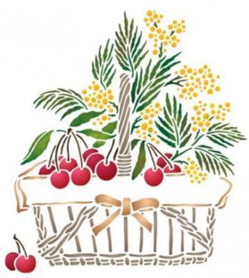 Spf123 panier cerises mimosa pochoir
