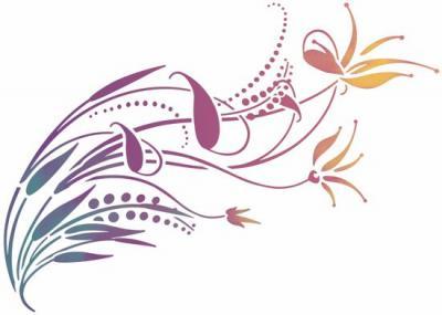 Stipo663 fleurs style moderne 2 pochoir style pochoir