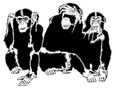3 singes de la sagesse pochoir mon artisane