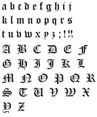 Alphabet gothique en pochoir old english