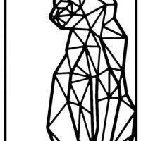 An12487 chat geometrique pochoir a peindre
