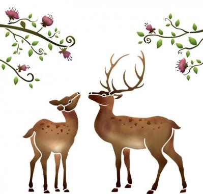 An37815 biche cerf fleurs en pochoir mon artisane style pochoir
