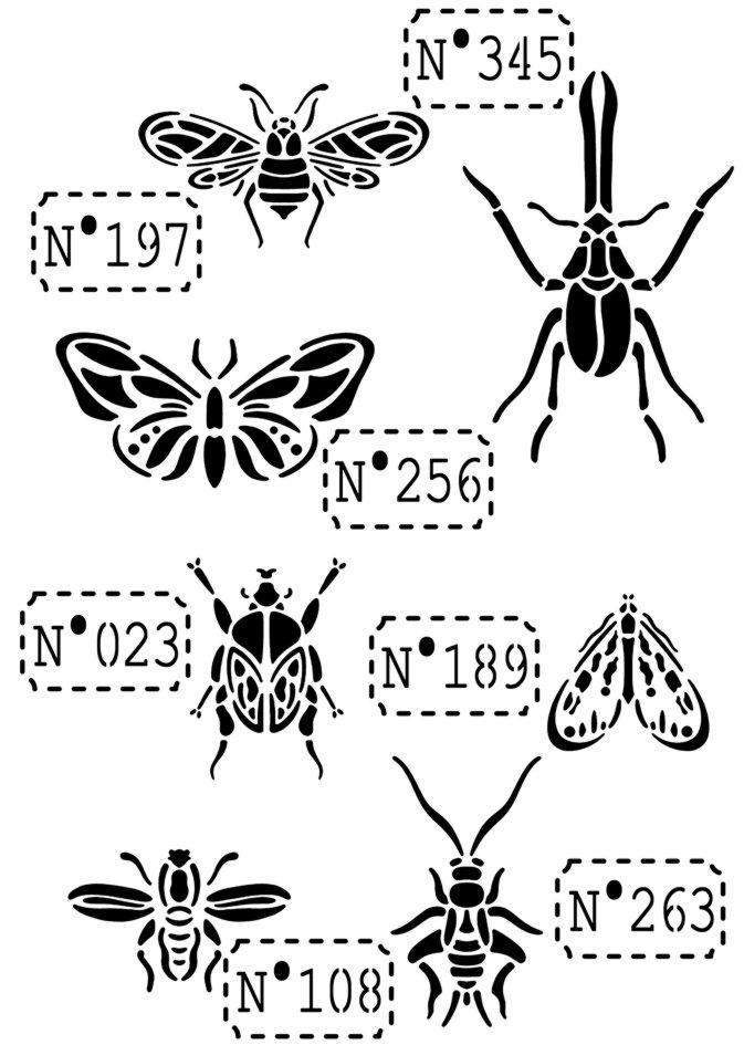 An5401 pochoir insectes papillons