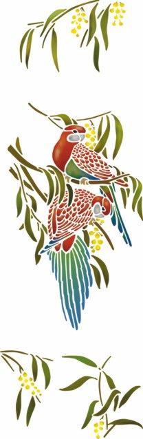 An6007 perruches mimosa pochoir oiseaux perroquets mural