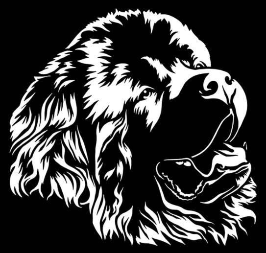 An6570 chien terre neuve pochoir a peindre
