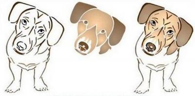 Anisp026 pochoir chien tchoupy style pochoir