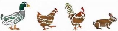 Anisp029 pochoir petits animaux de la ferme style pochoir