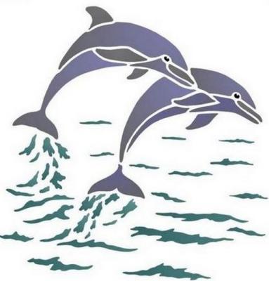 Anisp031 pochoir 2 dauphins style pochoir
