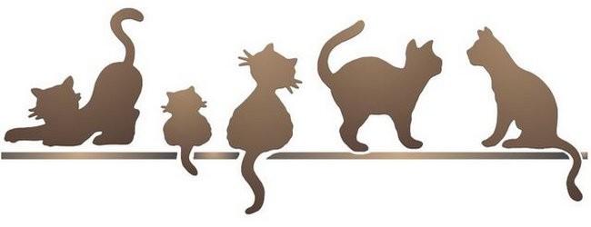 Anisp044 pochoir frise de chats style pochoir