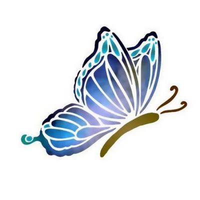 Anisp058 pochoir papillon bleur style pochoir