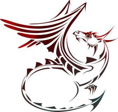 Anisp0605 pochoir dragon stylise style pochoir