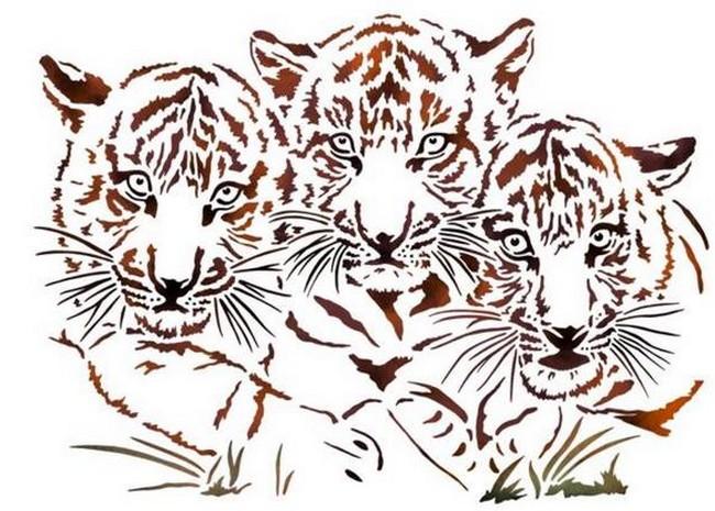Anisp068 pochoir 3 tigres style pochoir