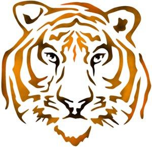 Anisp0690 pochoir tete de tigre style pochoir