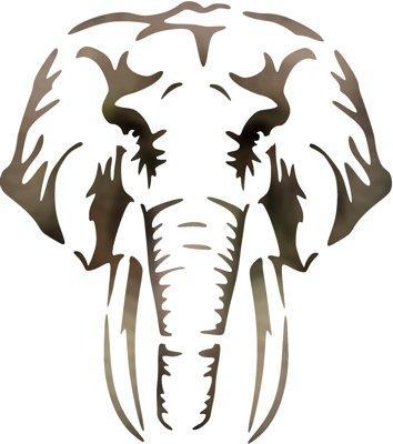 Anisp0692 pochoir tete d elephant style pochoir