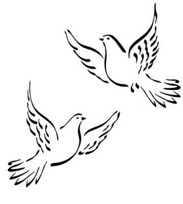 Anisp073 pochoir 2 colombes style pochoir