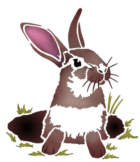 Anisp078 pochoir lapin dans son terrier style pochoir 1