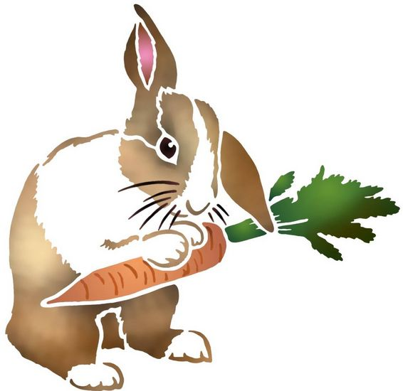 Anisp079 pochoir lapin carotte style pochoir