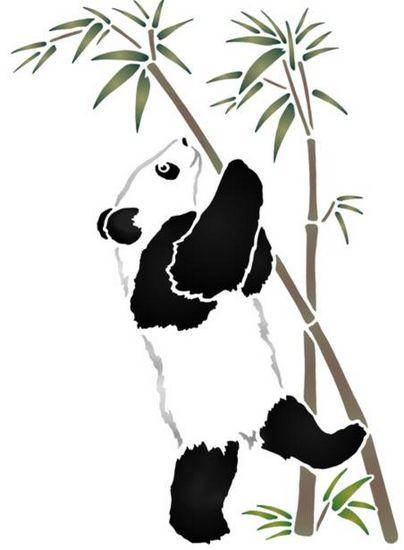 Anisp082 pochoir panda sur la branche style pochoir