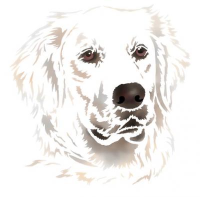 Anisp094 pochoir chien blanc 3 style pochoir 1