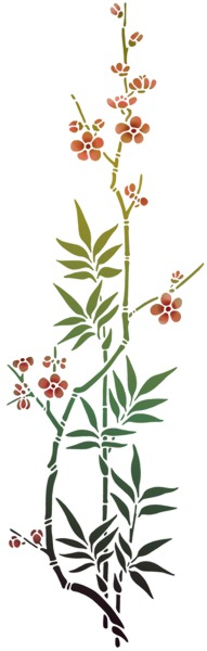As65 pochoir branche ikebana fleurs de cerisier style pochoir