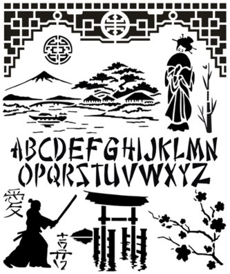 As697 pochoir pour scrapbooking asie chine japon style pochoir mon artisane