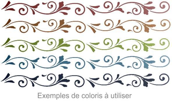 Atbl676 frise baroque fine pochoir couleurs