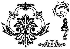 Bar58910 pochoir baroque motifs baroques classiques style pochoir
