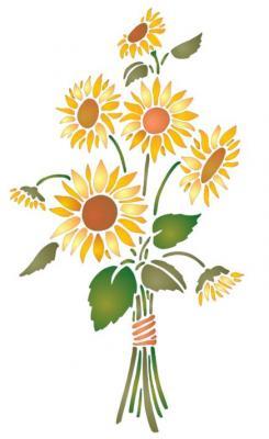 Bouquet de tournesols pochoir