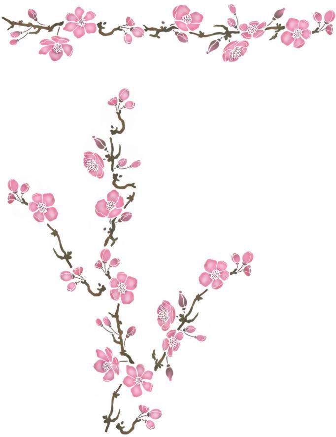 Branche et frise fleurs pommier kit promo pochoir style pochoir