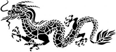 Chin111 pochoir dragon chinois style pochoir