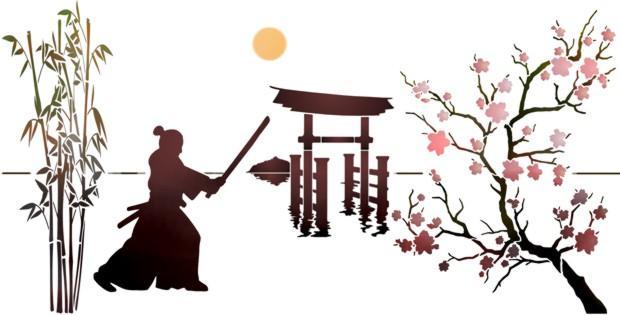 Chin2006 paysage japonnais pochoir a peindre asiatique bambous sabre style pochoir