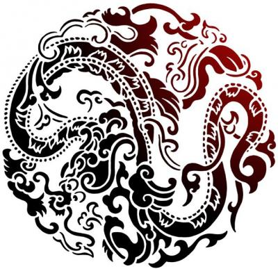 Chin27 pochoir dragon chinois rond style pochoir mon artisane
