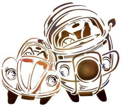 Coccinelle et combi volkswagen beetle and kombi pochoir a peindre