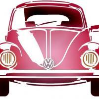 Coccinelle volkswagen de face beetle pochoir a peindre style pochoir