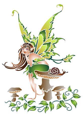 D12006 fee champignon escargot pochoir
