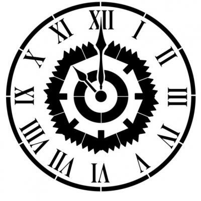 D61002 pochoir horloge engrenages style pochoir